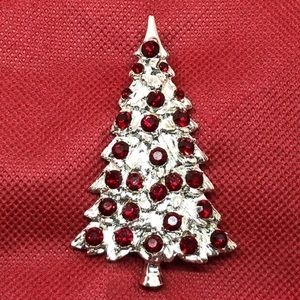 Vintage Silver & Red Rhinestone Christmas Tree Pin